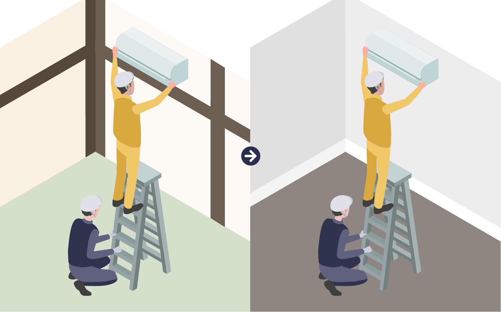 複数の作業員の方が安全を確保して空調機の取り外し、取り付けを行なっているイメージ