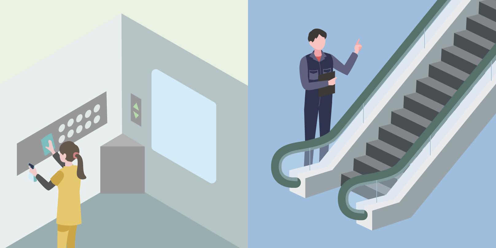 左部分では従業員の方がエレベーターの清掃をしており、右部分では従業員の方がエスカレーターの点検を行っている
