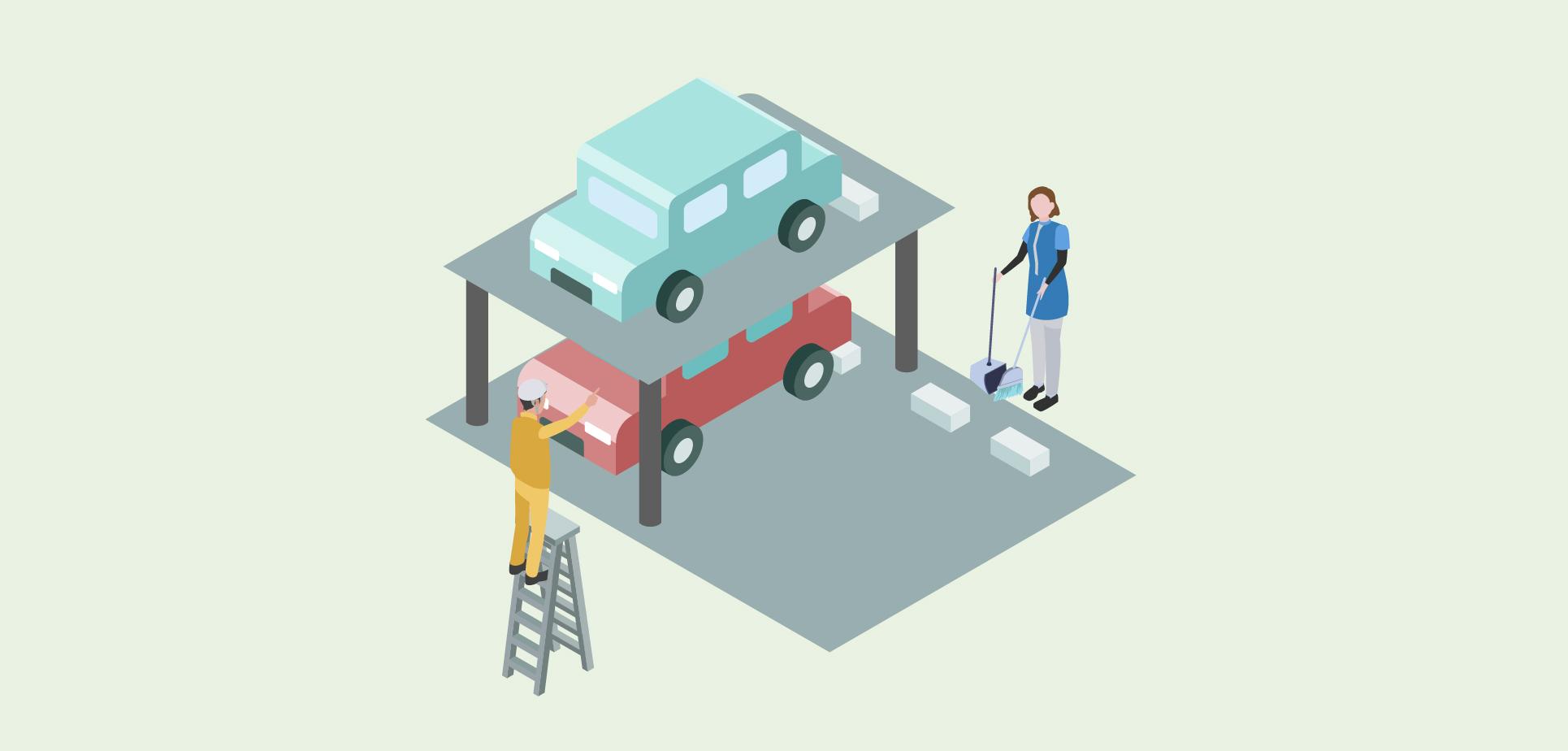 立体駐車場で手前の従業員の方が整備をしており、奥の従業員の方は清掃をしているイメージ