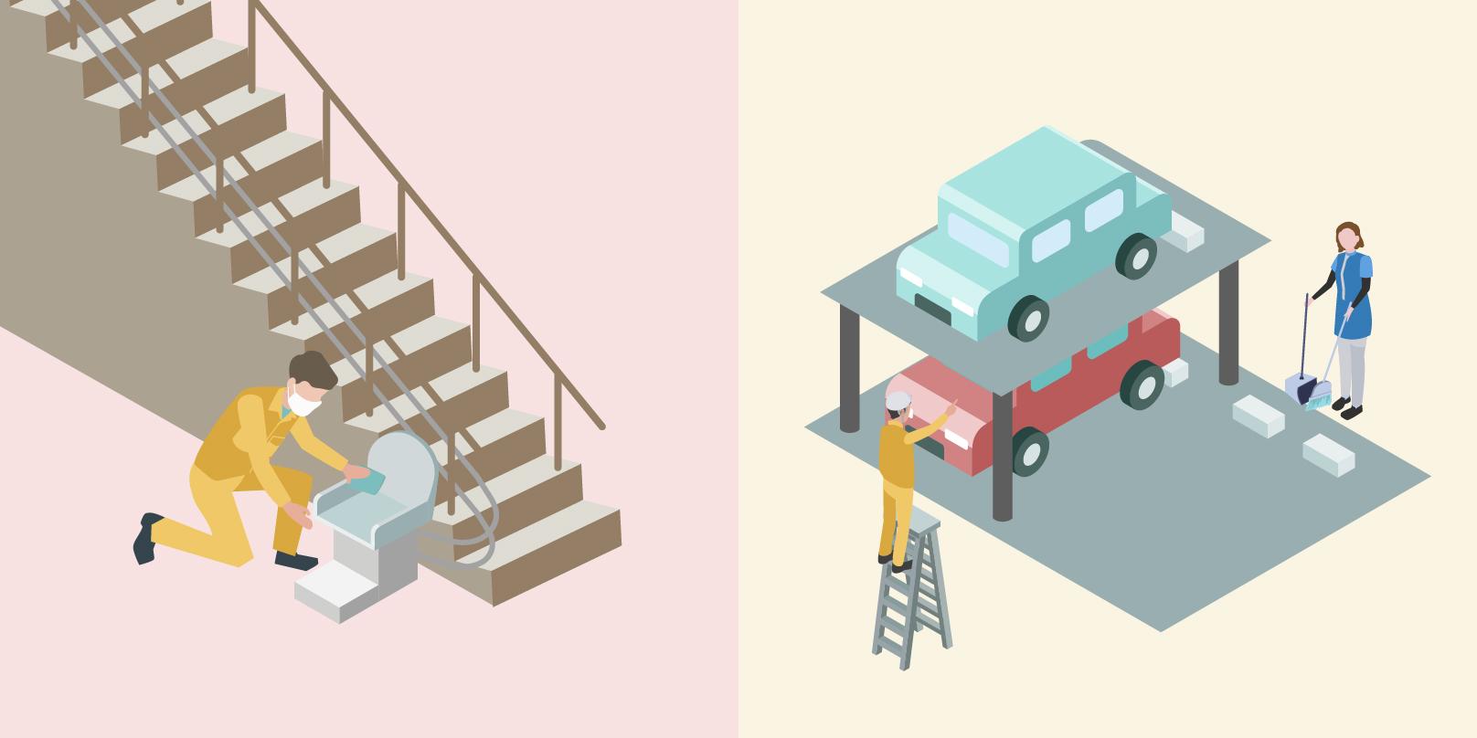 左側のイメージでは階段用昇降機を従業員の方が清掃しており、右側のイメージで、立体駐車場で手前側の従業員の方が整備をしており、奥にいる従業員の方が清掃しているイメージ