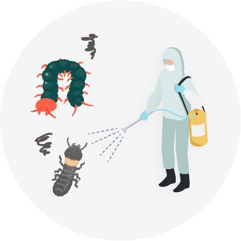 従業員の方が薬を散布して害虫を駆除している要素