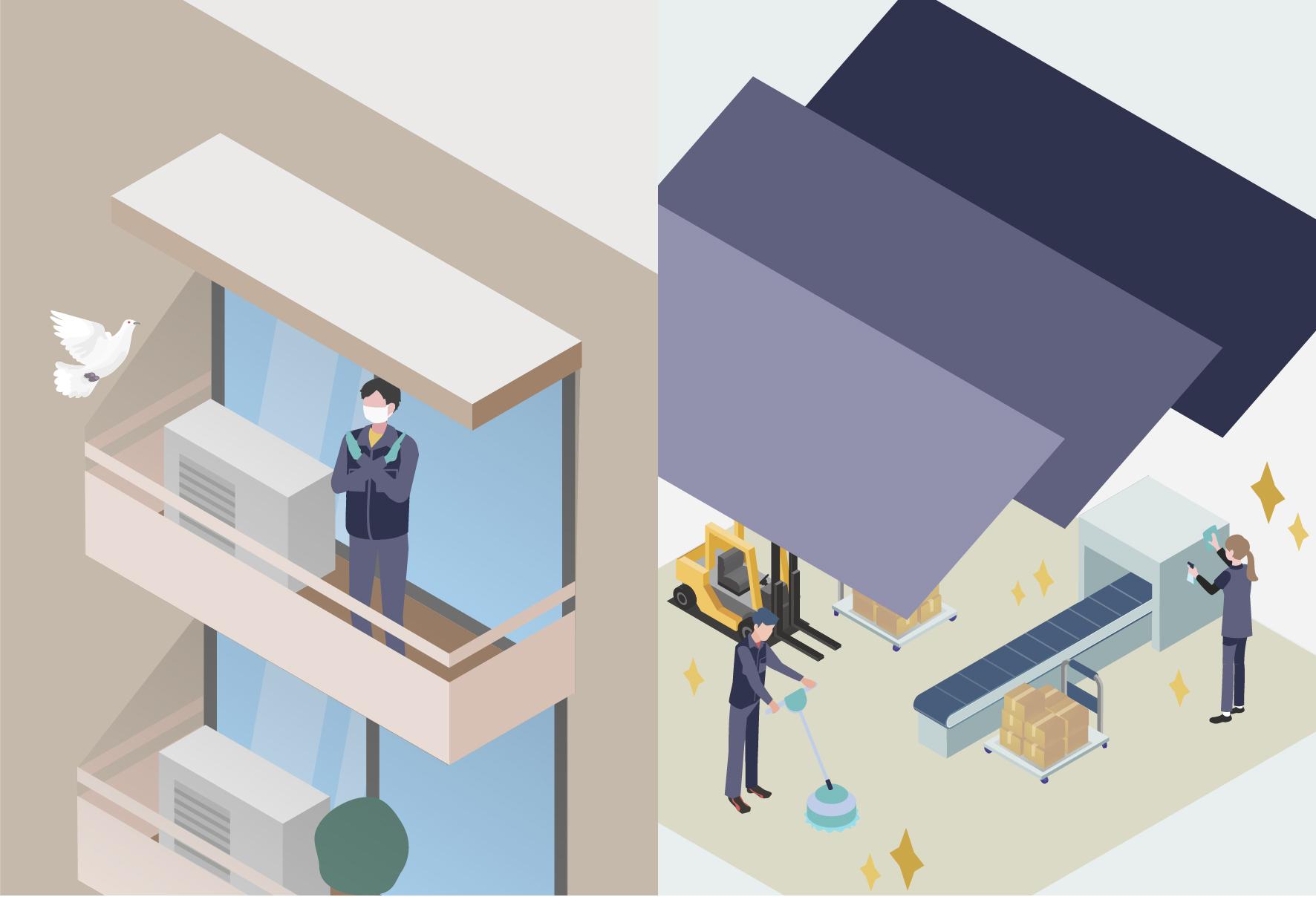 左部分では作業員の方が晁蓋を防ぐための方法を考えており、右部分では従業員の方が工場内の空調の除菌や消毒をしてピカピカなイメージ