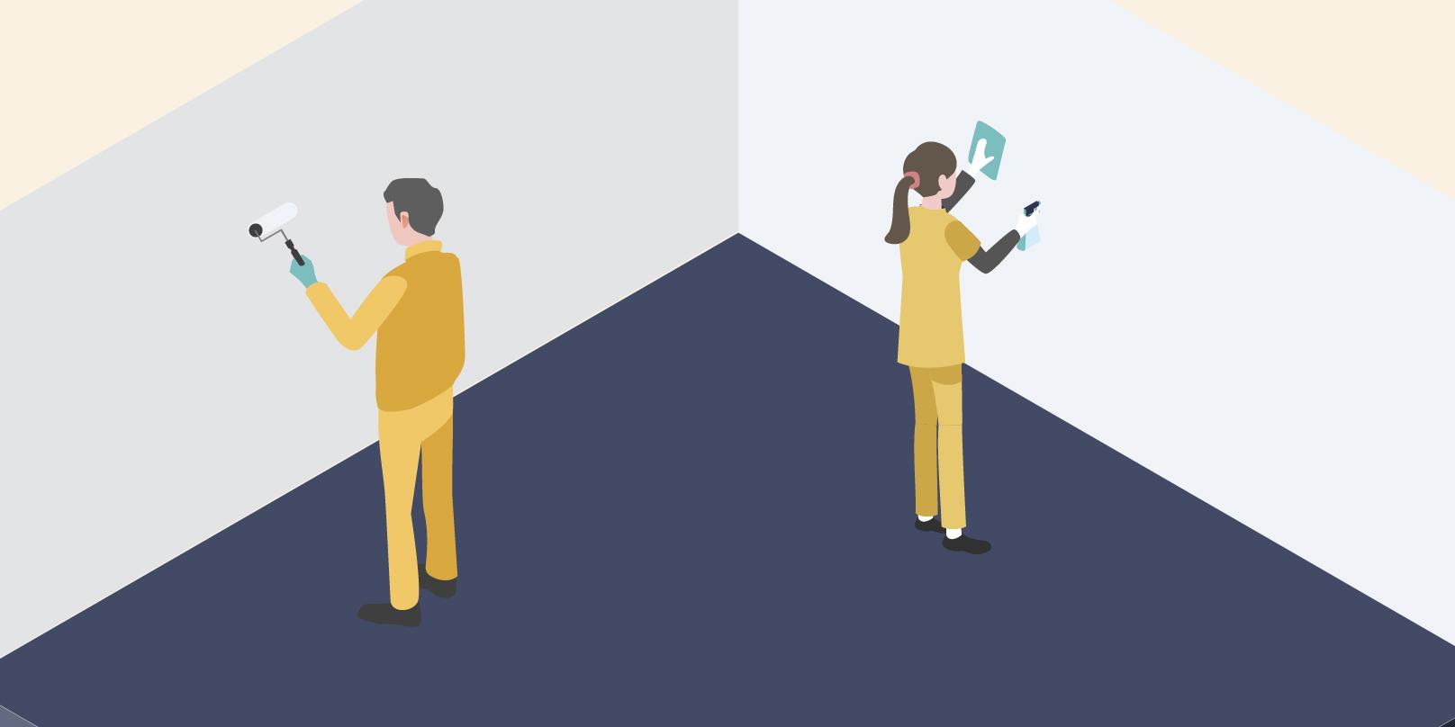 二人の従業員の方が壁面の清掃、塗り壁の作業をしているイメージ