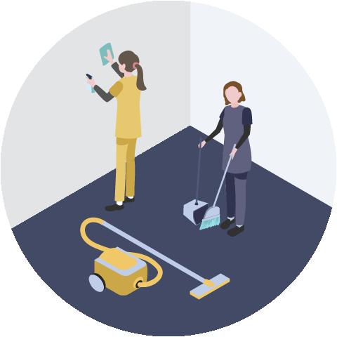 右側の従業員の方が床の清掃をしており、左側の従業員の方が壁の清掃をしているイメージ