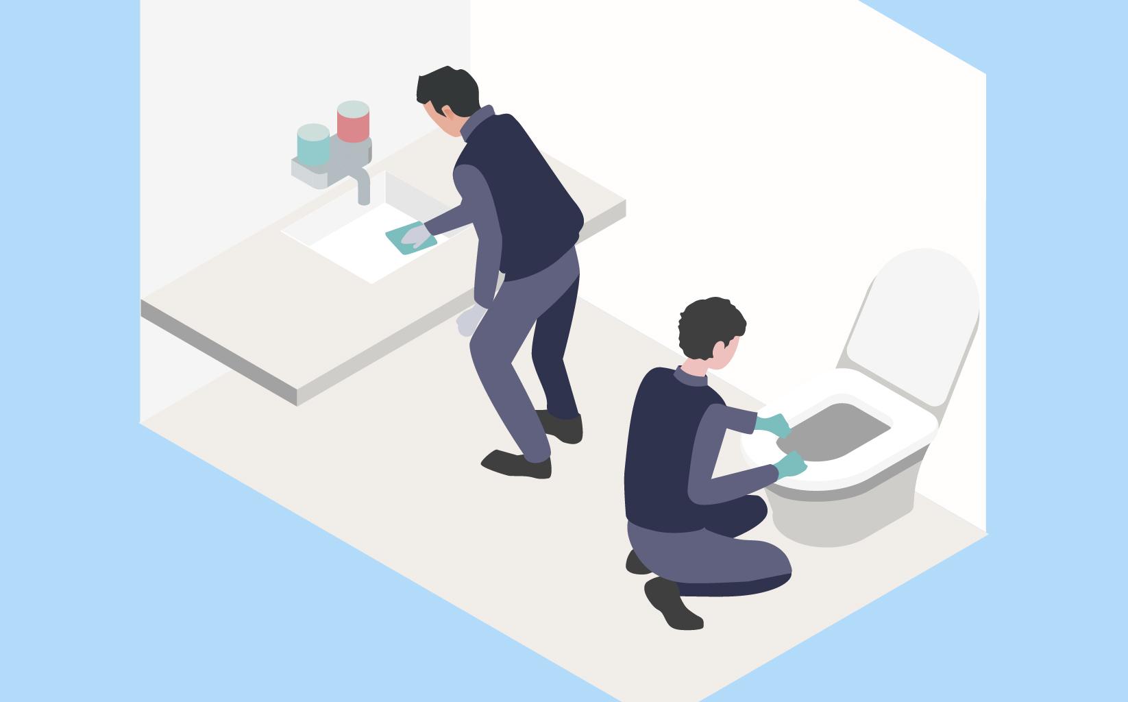 左の従業員の方が洗面所を清掃しており、右側の従業員の方がトイレを清掃しているイメージ