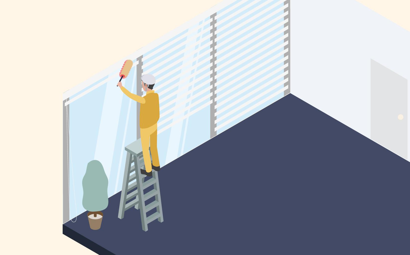 従業員の方が梯子にのぼり窓を清掃しているイメージ