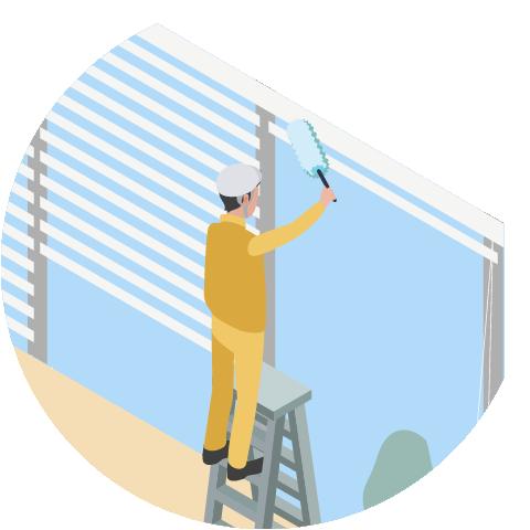 従業員の方が窓ガラスの清掃をしているイメージ