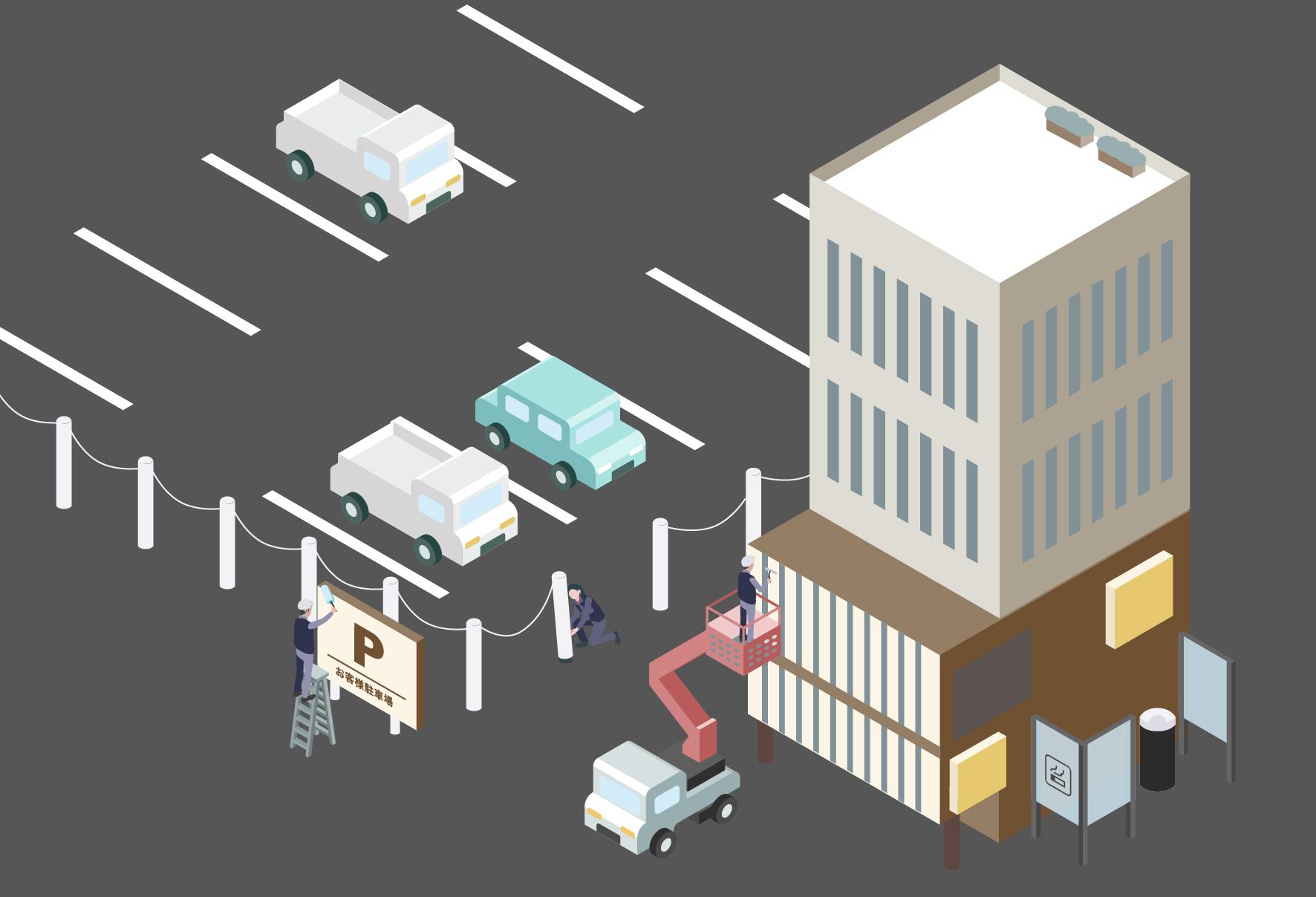 右側部分ではクレーン車を使って建物の外部を清掃しており、左側部分では駐車場の付近の清掃をしているイメージ