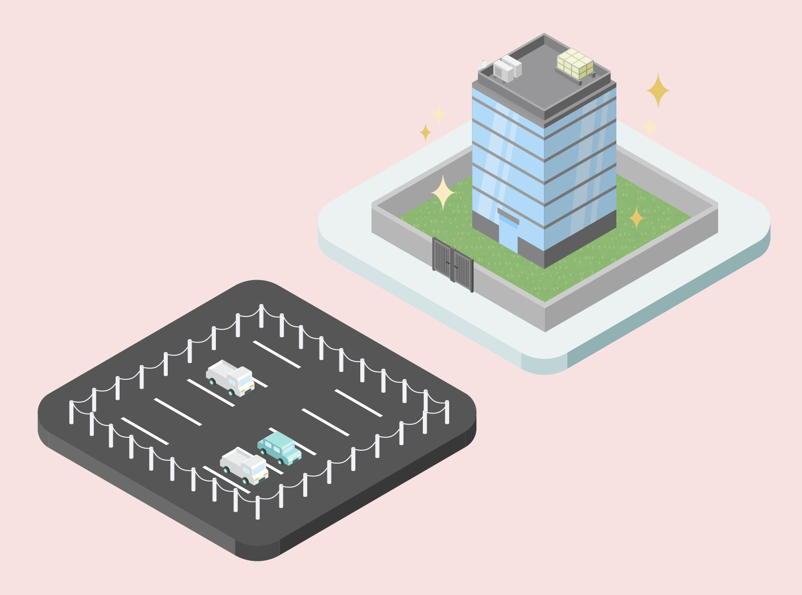 右側部分では綺麗なオフィスビルが建っており、左側部分では駐車場があるイメージ