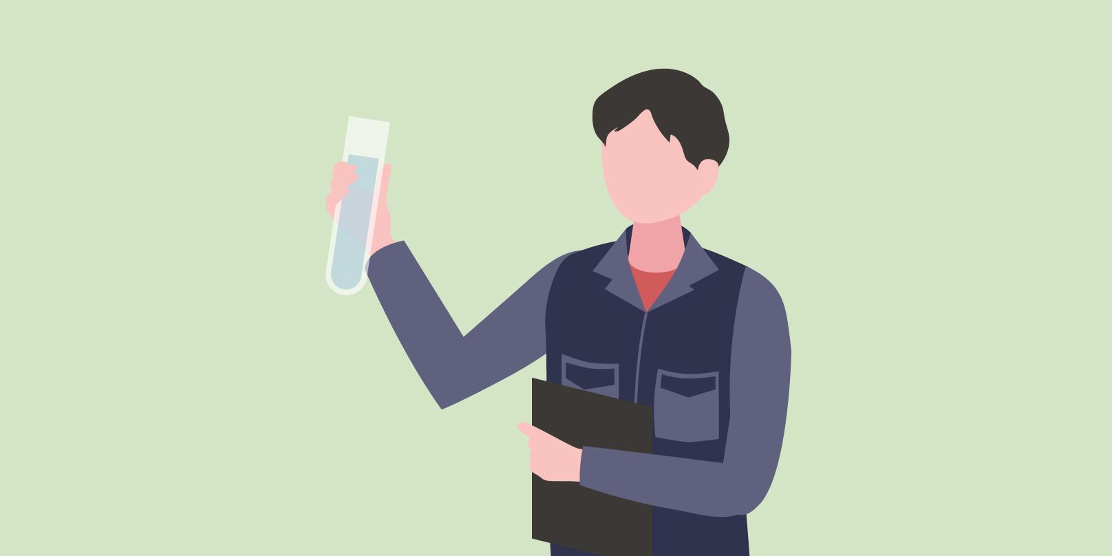従業員の方が水質検査をしているイメージ