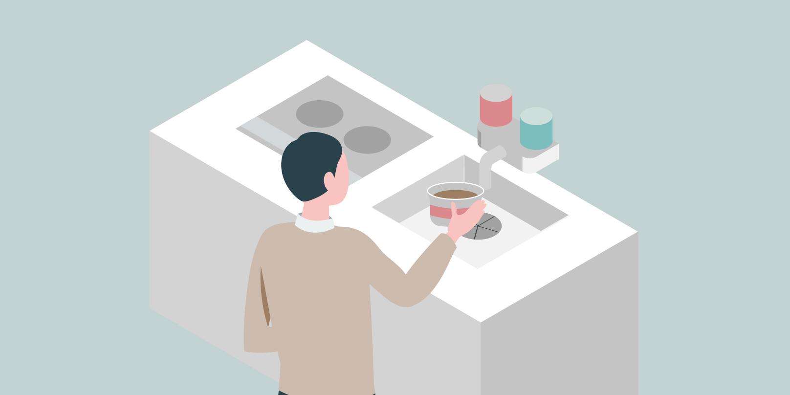 男の人が綺麗な台所の前で立っているイメージ