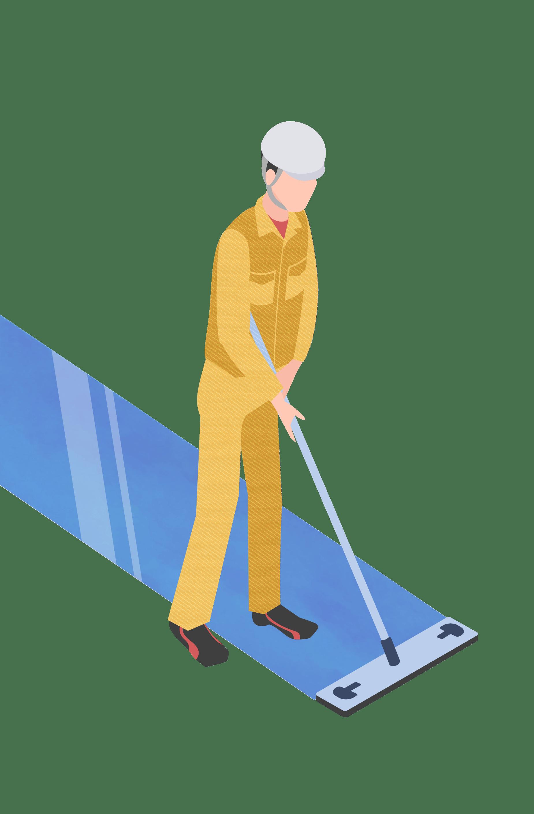 従業員のかたが床を清掃しているイメージ