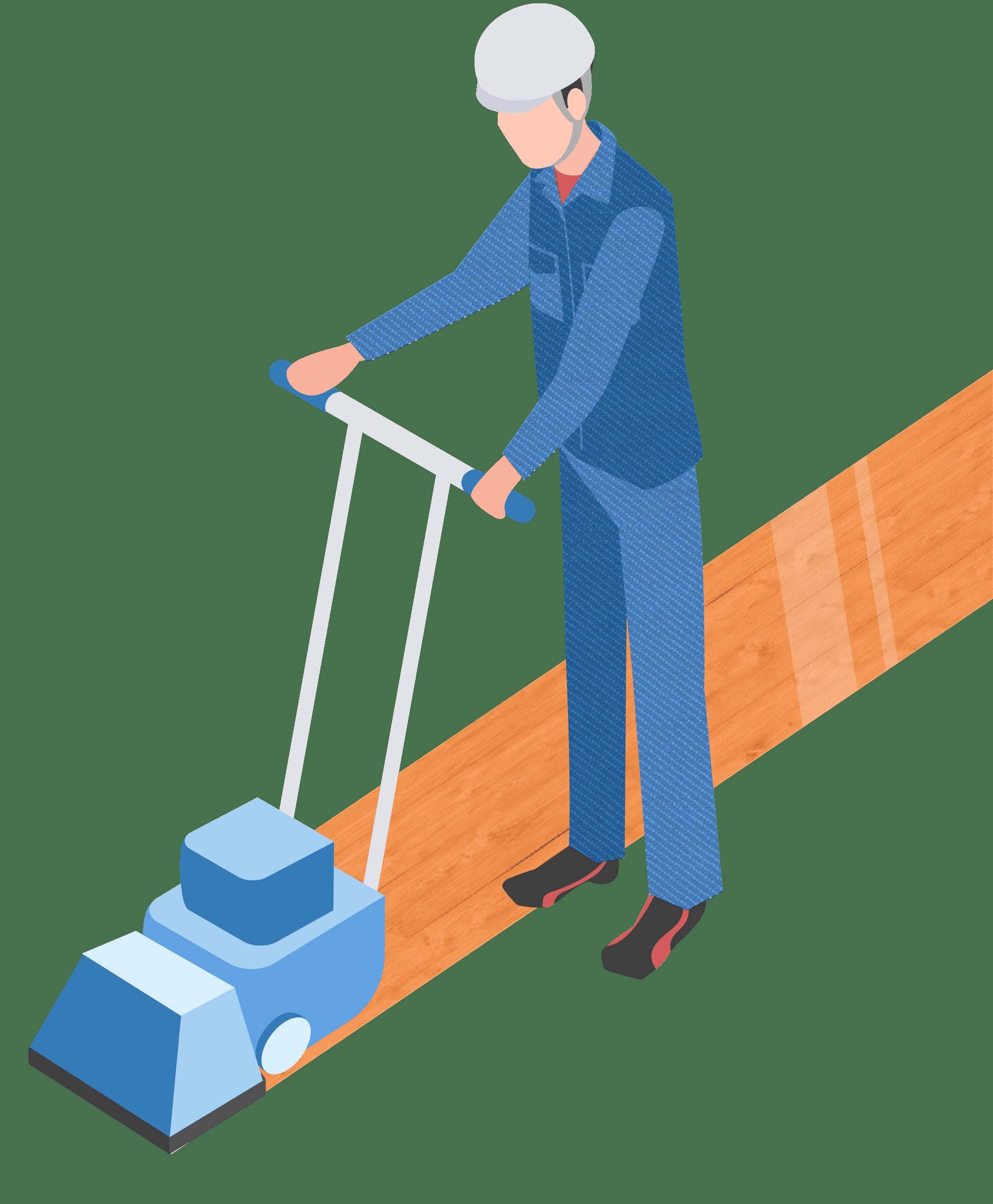 サンディング:従業員の方が床を清掃しているイメージ