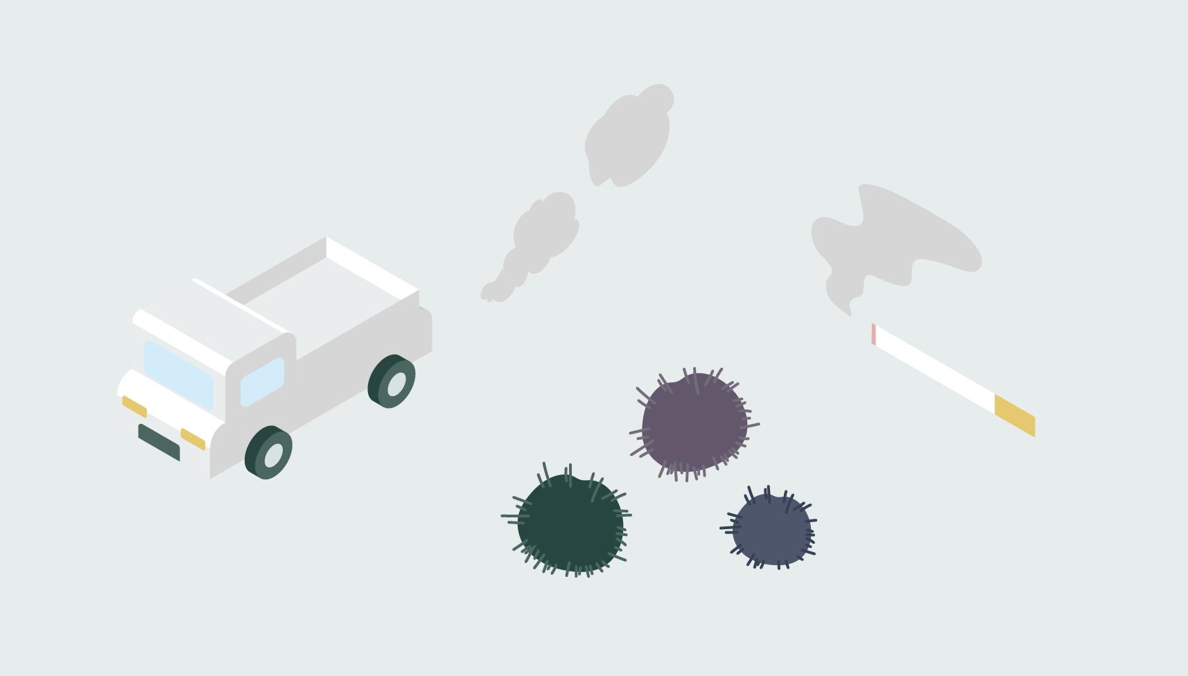 空気中に浮遊する有機物・無機質からなるガスや浮遊粉塵と、 細菌・真菌・酵母といった微生物